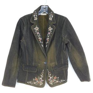 Apostrophe Lovely Embroidered Denim Blazer Jacket